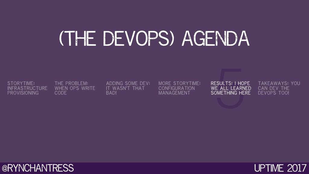 @rynchantress 5 Uptime 2017 (the devops) agenda...