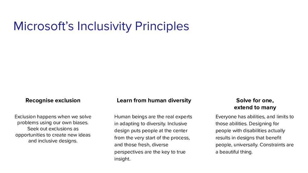 Microsoft's Inclusivity Principles Recognise ex...