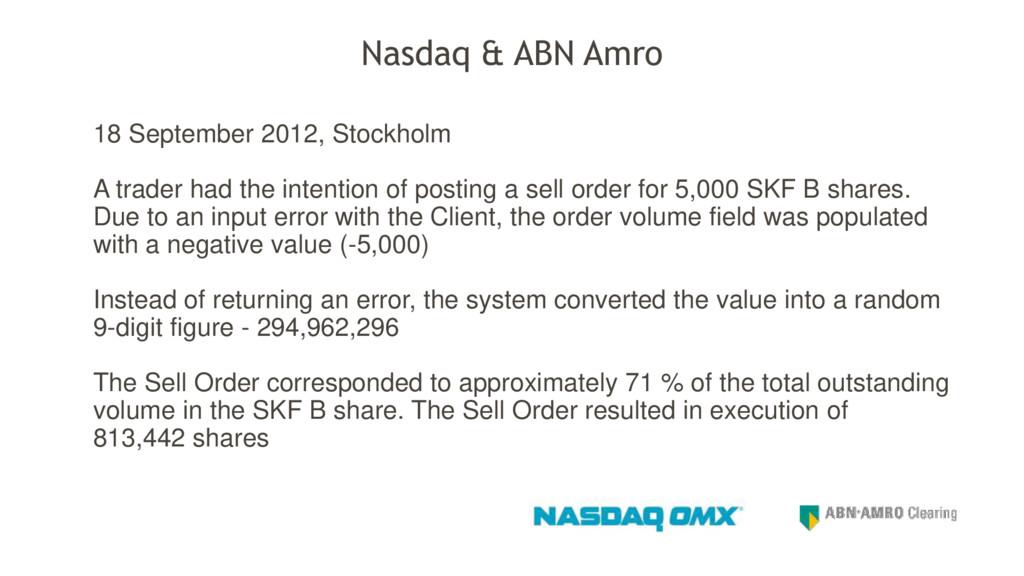 Nasdaq & ABN Amro 18 September 2012, Stockholm ...