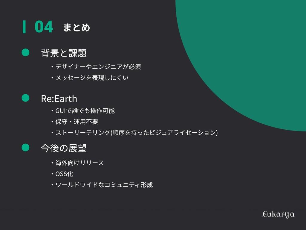 まとめ 04 背景と課題 Re:Earth 今後の展望 ・デザイナーやエンジニアが必須  ・メ...