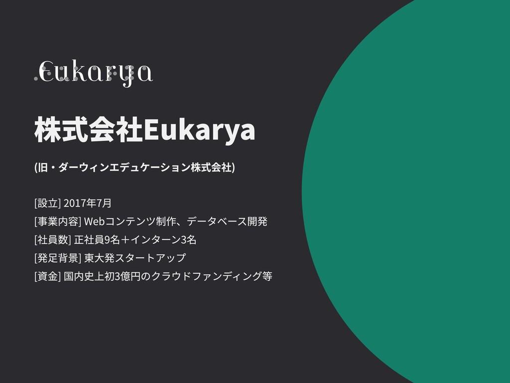 (旧・ダーウィンエデュケーション株式会社) 株式会社Eukarya [設立] 2017年7月 ...