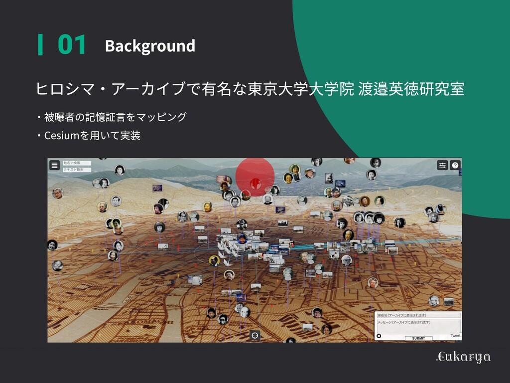 ヒロシマ・アーカイブで有名な東京大学大学院 渡邉英徳研究室  Background 01 ・被...