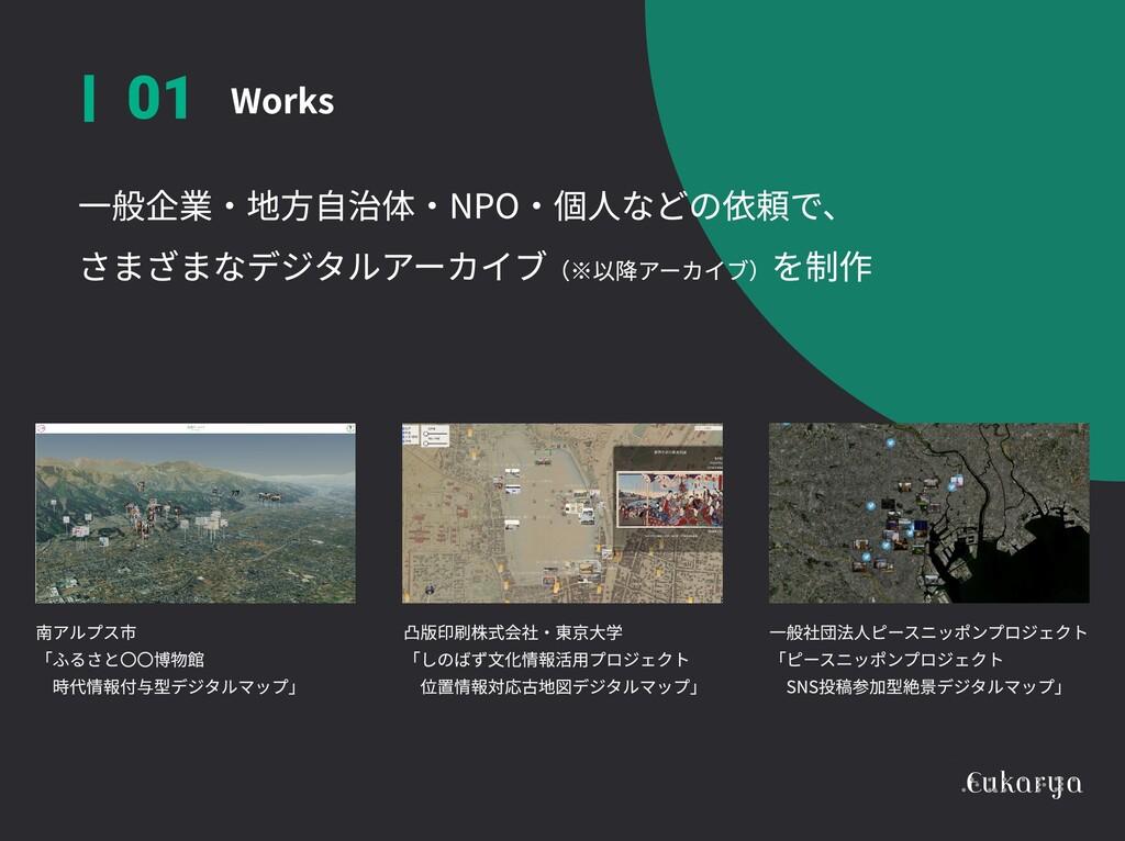 Works 01 一般企業・地方自治体・NPO・個人などの依頼で、  さまざまなデジタルアーカ...
