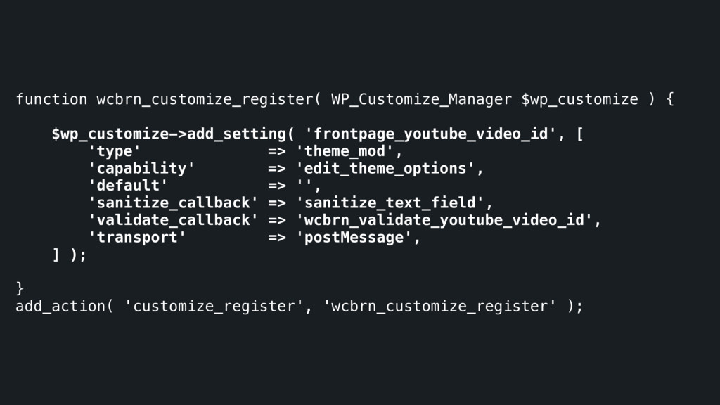 function wcbrn_customize_register( WP_Customize...