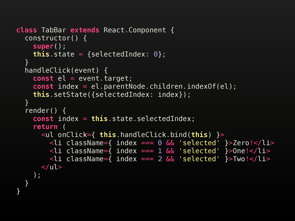 class TabBar extends React.Component { construc...