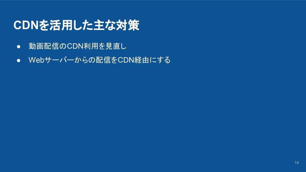 CDNを活用した主な対策 ● 動画配信のCDN利用を見直し ● Webサーバーからの配信をCD...