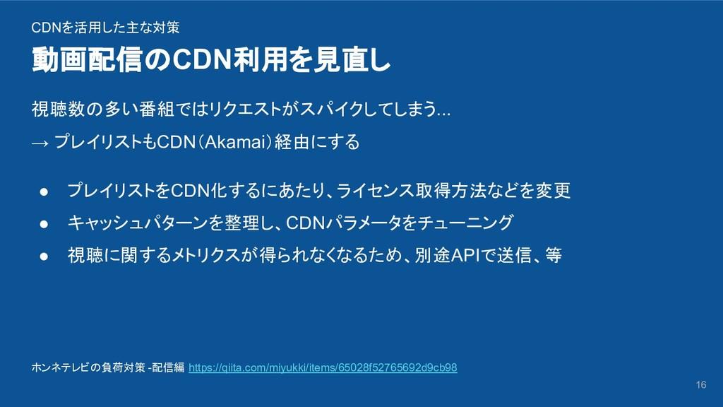 動画配信のCDN利用を見直し 16 CDNを活用した主な対策 視聴数の多い番組ではリクエストが...