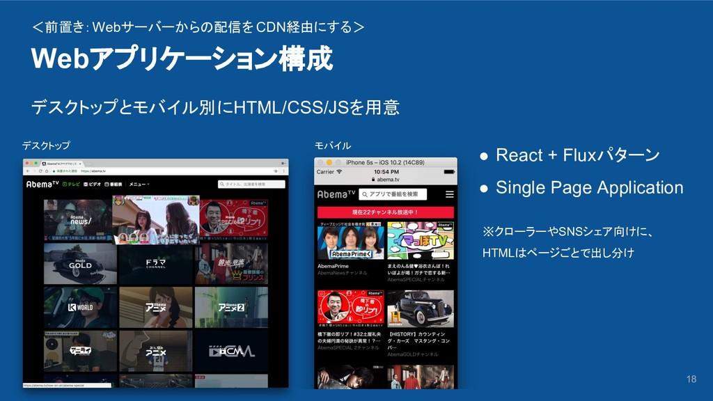 Webアプリケーション構成 18 ● React + Fluxパターン ● Single Pa...