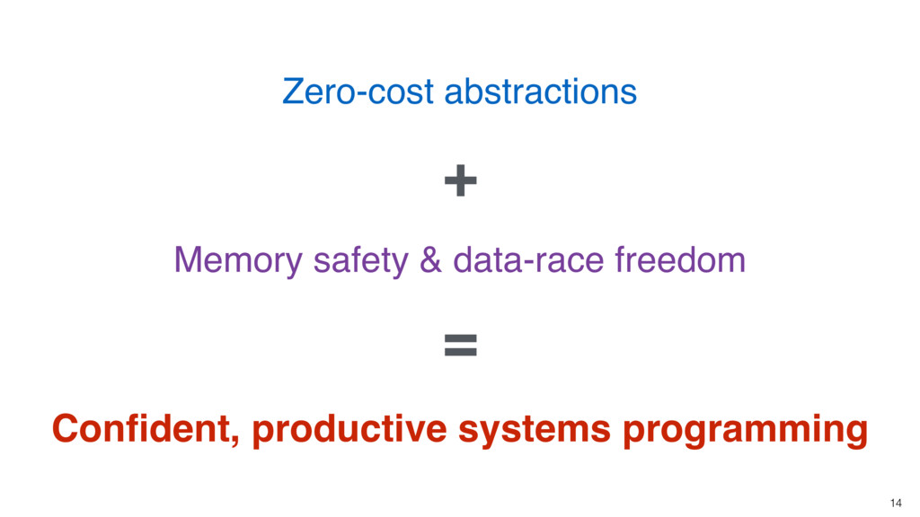 14 Zero-cost abstractions Memory safety & data-...