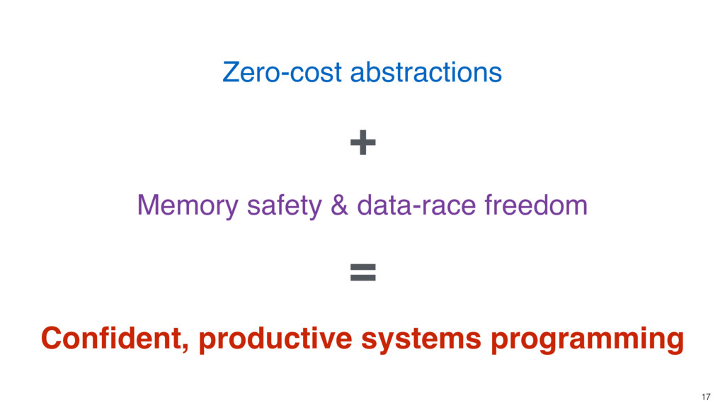 17 Zero-cost abstractions Memory safety & data-...
