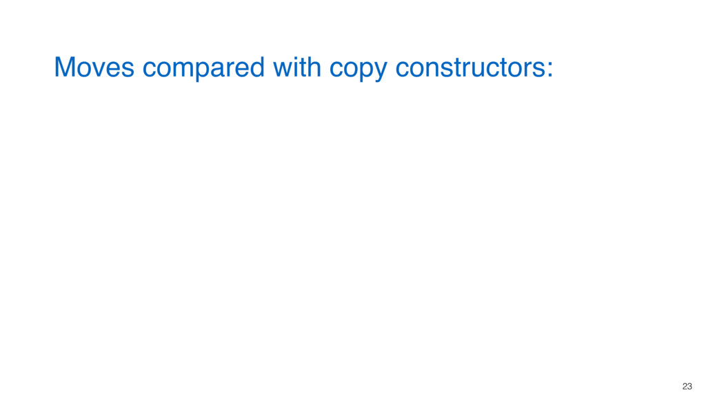 23 Moves compared with copy constructors: