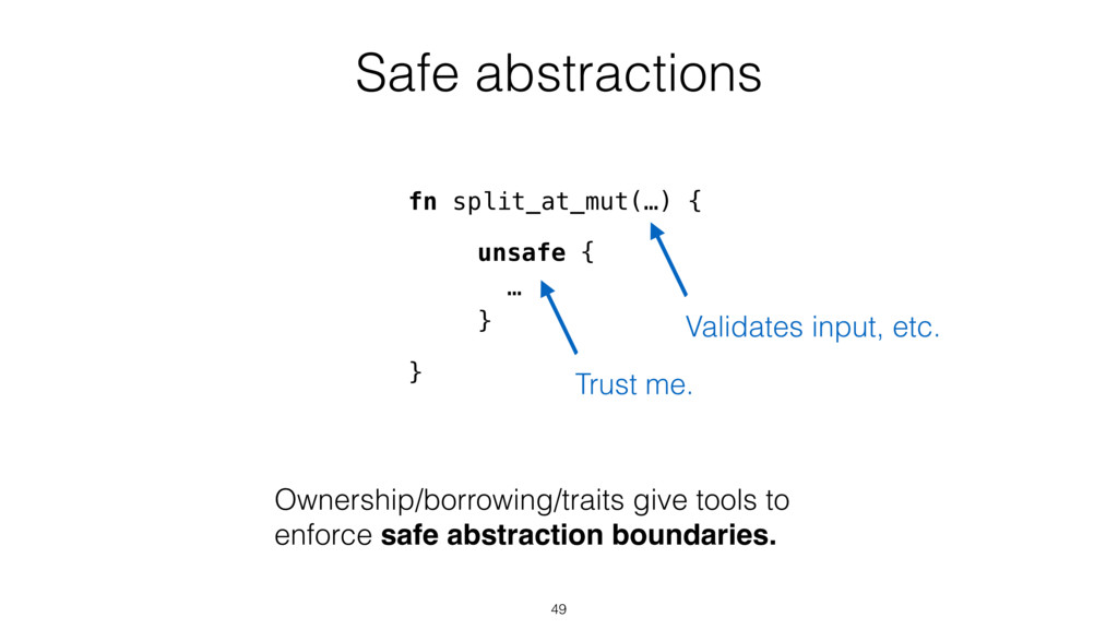 Safe abstractions unsafe { … } Ownership/borrow...