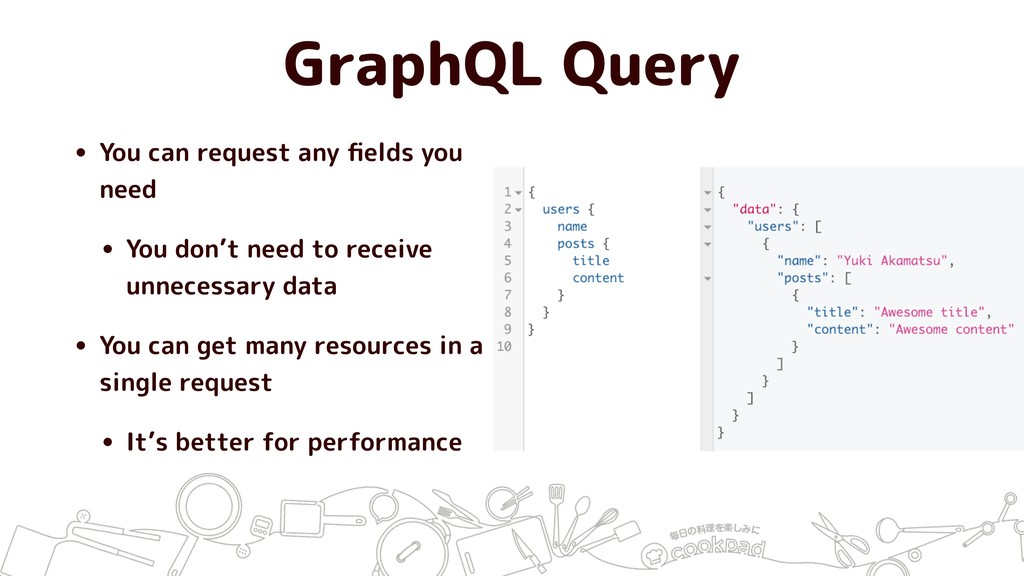 GraphQL Query • You can request any fields you n...