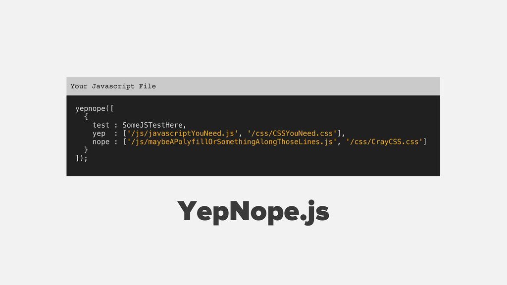 yepnope([ { test : SomeJSTestHere, yep : ['/js/...