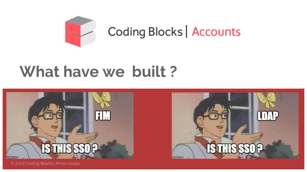 What have we built ? © 2018 Coding Blocks, Arna...