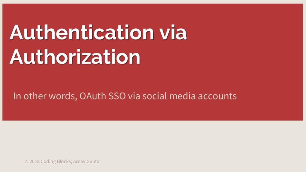 Authentication via Authorization © 2018 Coding ...