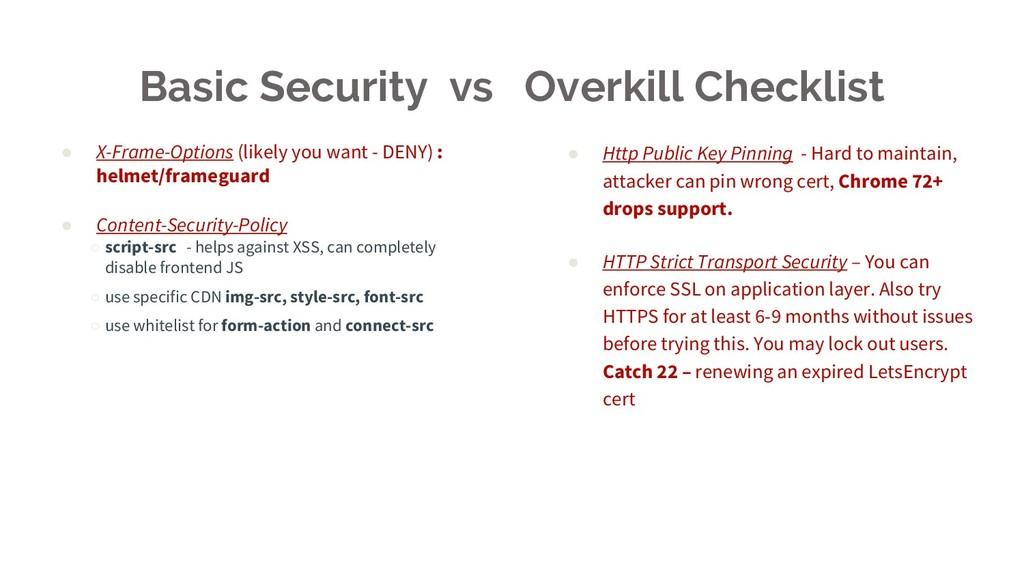 Basic Security vs Overkill Checklist ● X-Frame-...