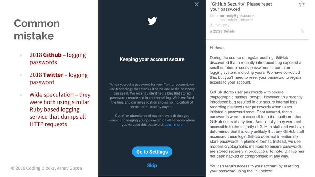 Common mistake ● 2018 Github – logging password...