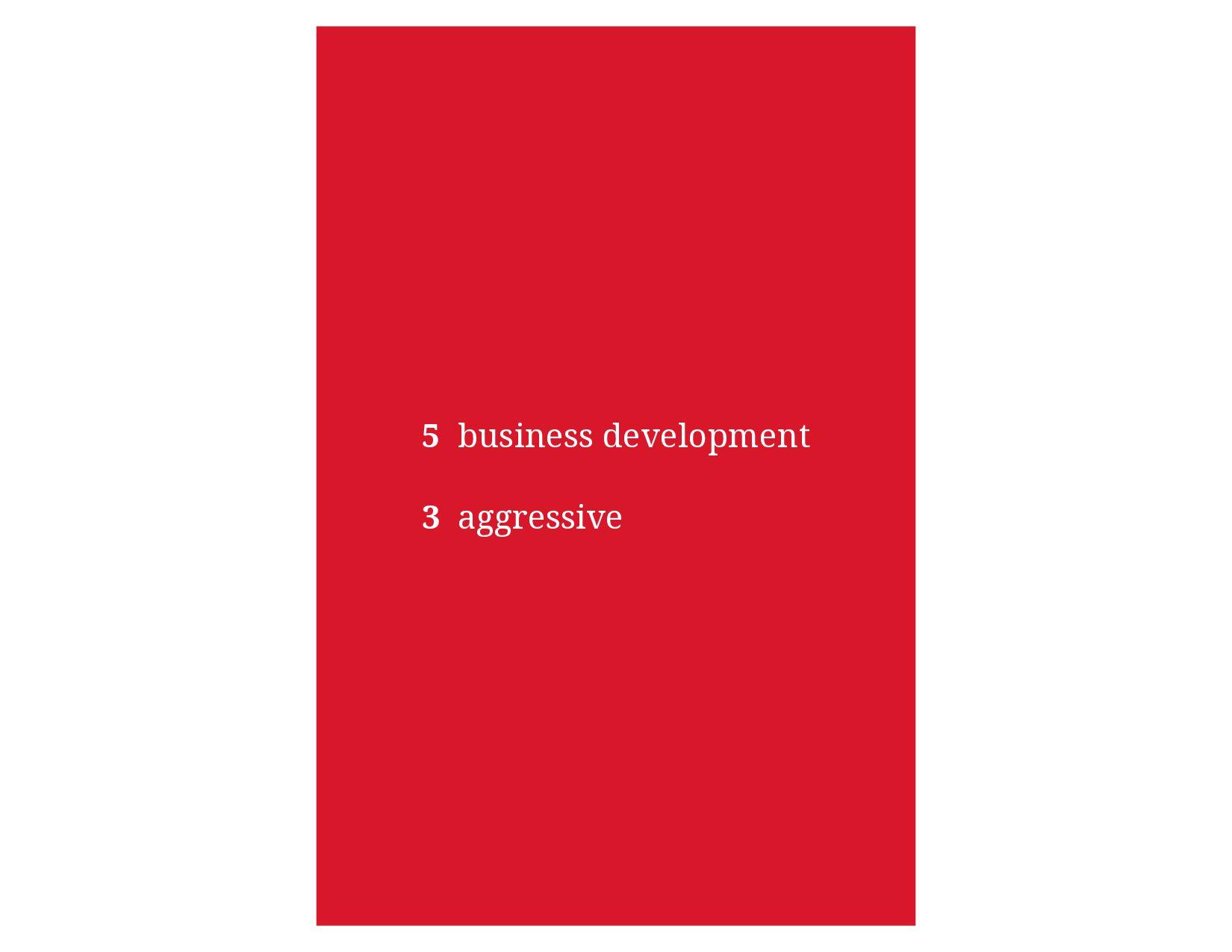 5 business development 3 aggressive