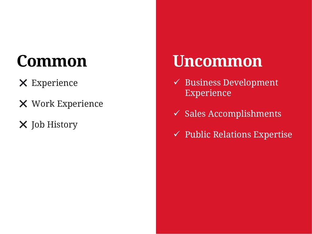 Uncommon Common ❌ Experience ❌ Work Experience ...