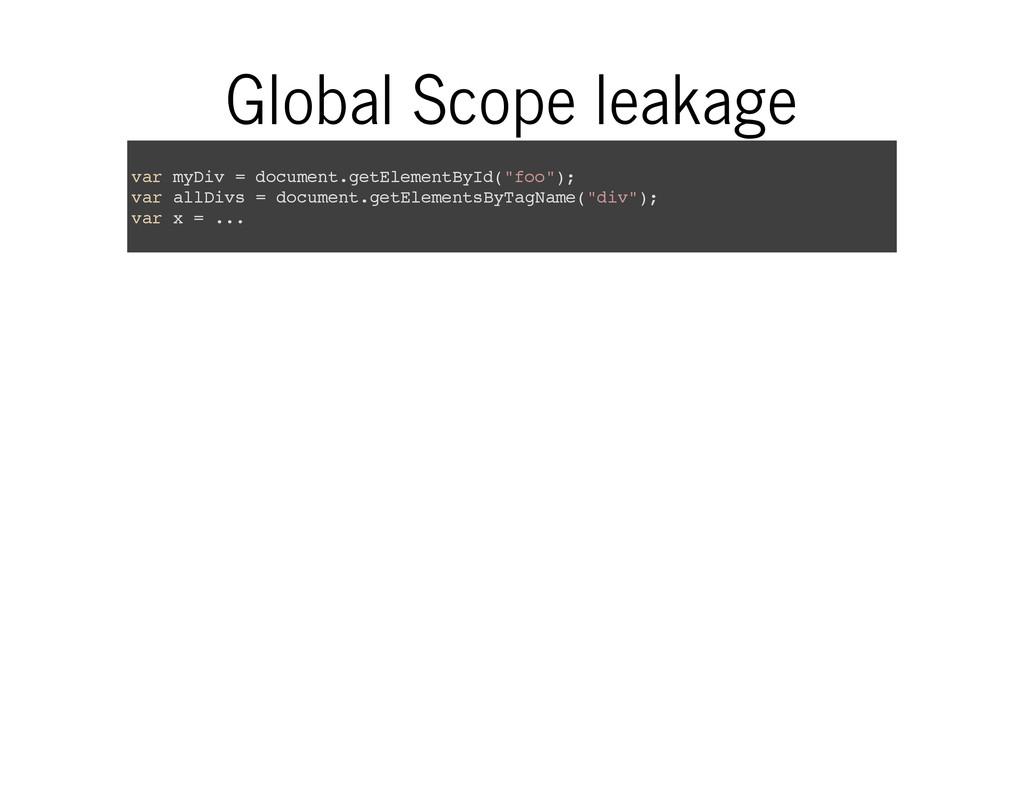 Global Scope leakage v a r m y D i v = d o c u ...