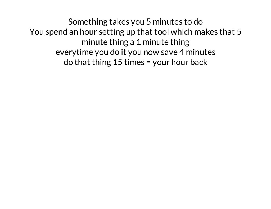 Something takes you 5 minutes to do You spend a...