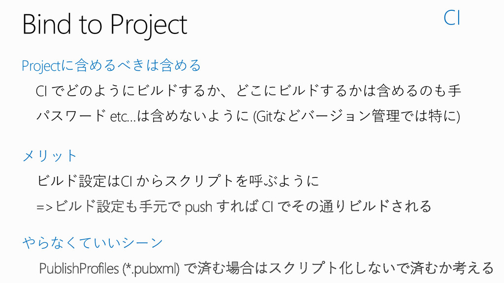 Bind to Project Projectに含めるべきは含める CI でどのようにビルドす...
