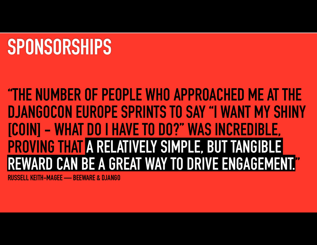"""SPONSORSHIPS """"THE NUMBER OF PEOPLE WHO APPROACH..."""