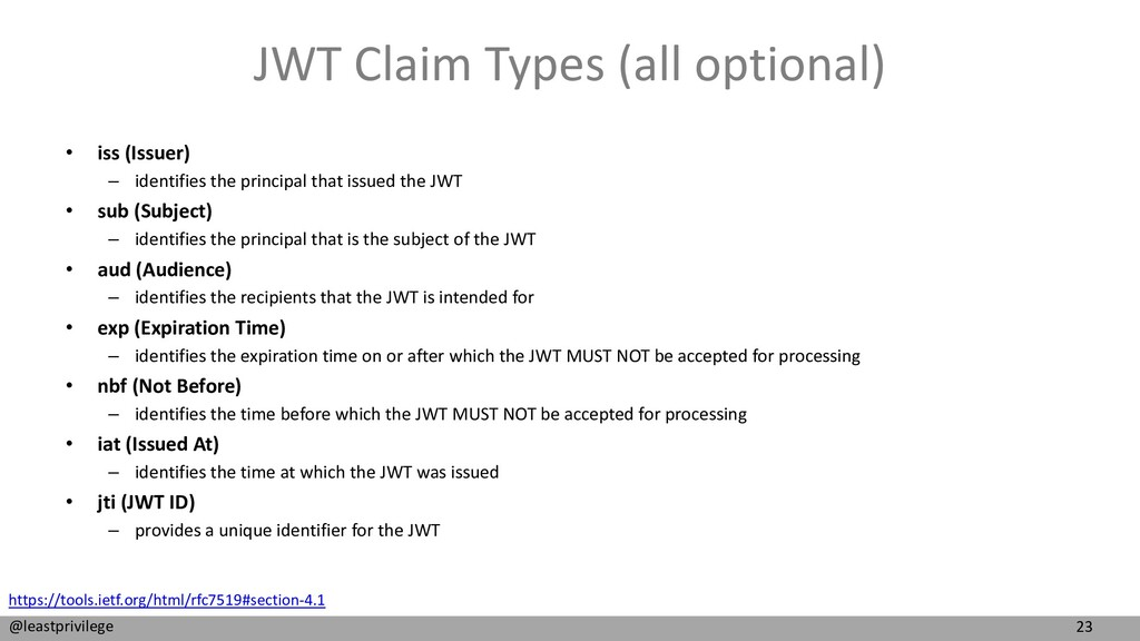 23 @leastprivilege JWT Claim Types (all optiona...