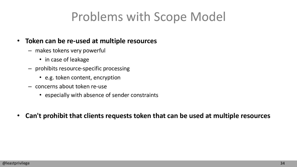 34 @leastprivilege Problems with Scope Model • ...