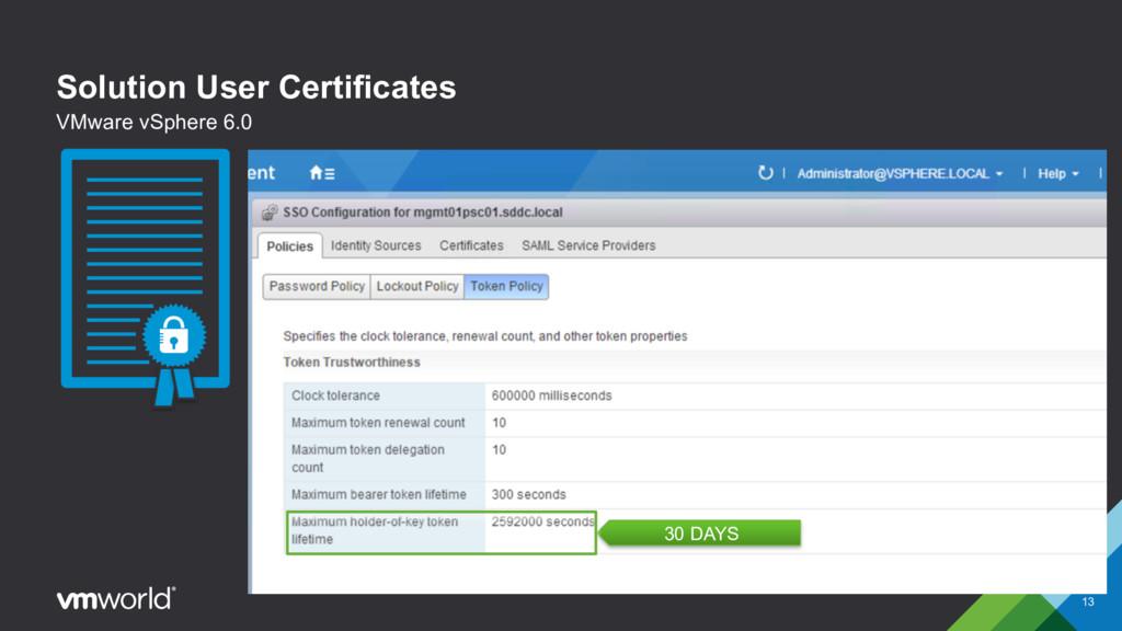 Solution User Certificates § Encapsulates one o...