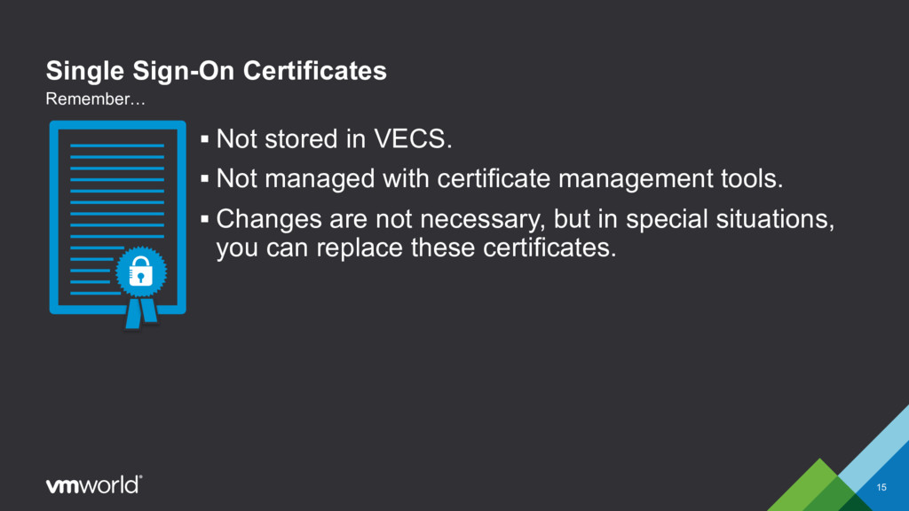 Single Sign-On Certificates § Not stored in VEC...