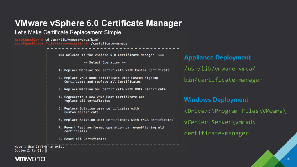 VMware vSphere 6.0 Certificate Manager 18 Let's...