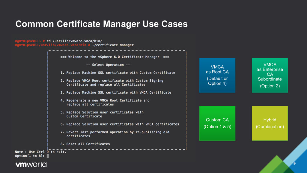 Common Certificate Manager Use Cases 19 VMCA as...