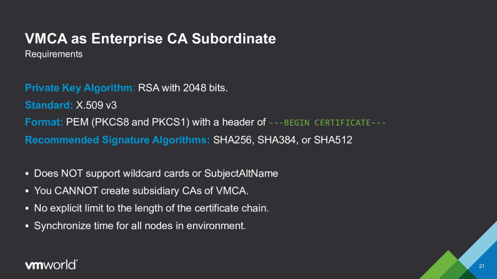 VMCA as Enterprise CA Subordinate Private Key A...