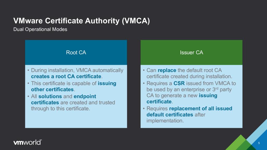 VMware Certificate Authority (VMCA) 5 Dual Oper...