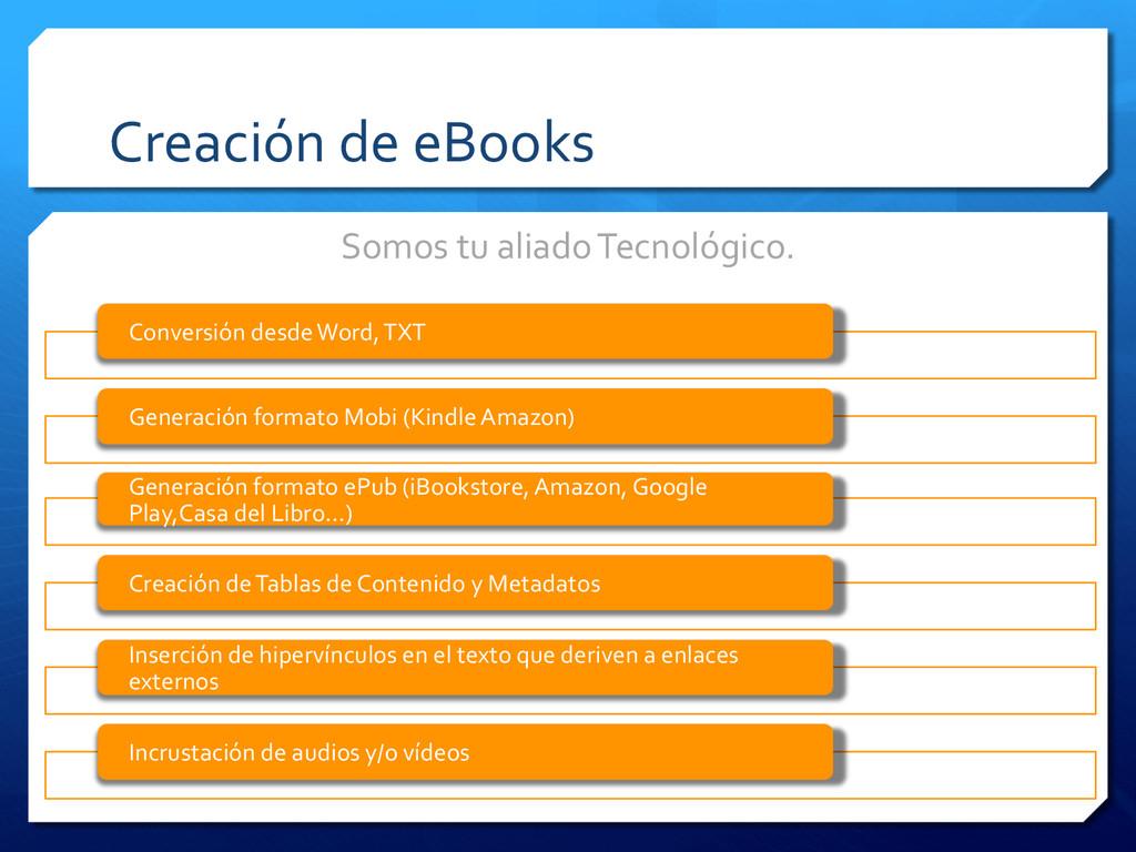Creación de eBooks  Somos tu ali...