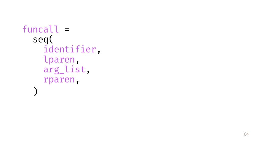 64 funcall = seq( identifier, lparen, arg_list,...