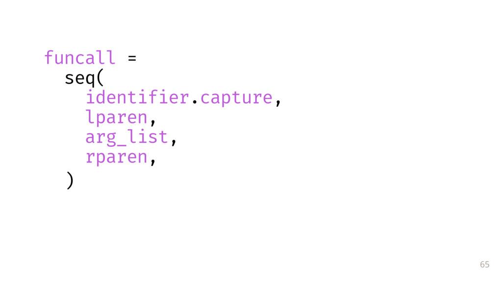 65 funcall = seq( identifier.capture, lparen, a...