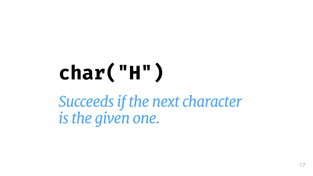 "17 char(""H"") Succeeds if the next character  is..."