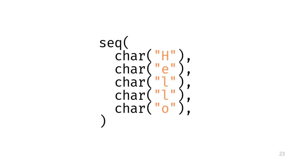 "23 seq( char(""H""), char(""e""), char(""l""), char(""..."