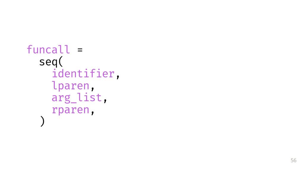 56 funcall = seq( identifier, lparen, arg_list,...