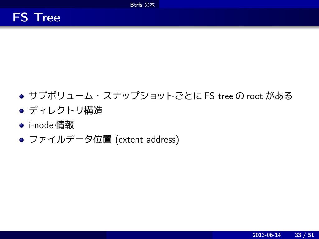 Btrfs ͷ . . FS Tree αϒϘϦϡʔϜɾεφοϓγϣ οτ͝ͱʹ FS tr...