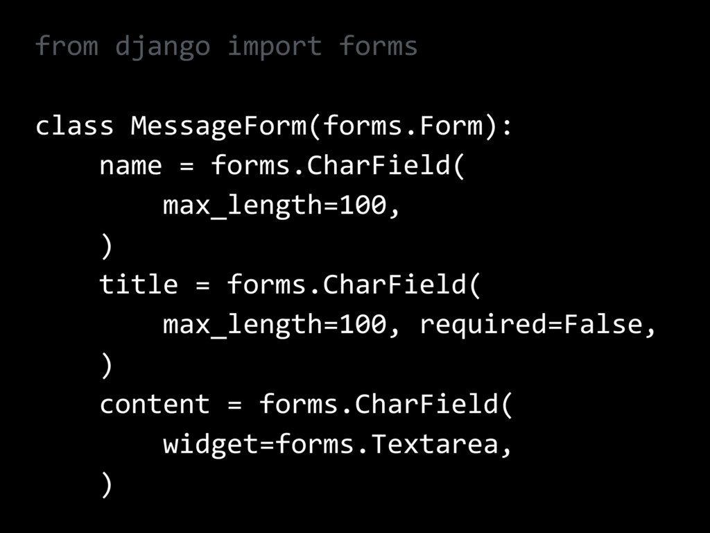from django import forms class MessageForm(form...