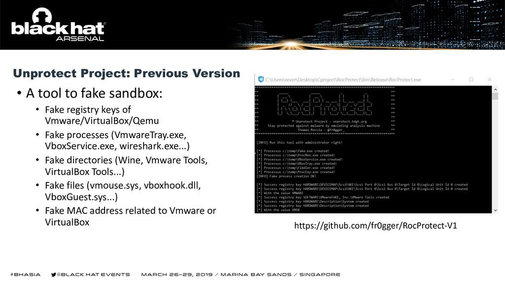 • A tool to fake sandbox: • Fake registry keys ...