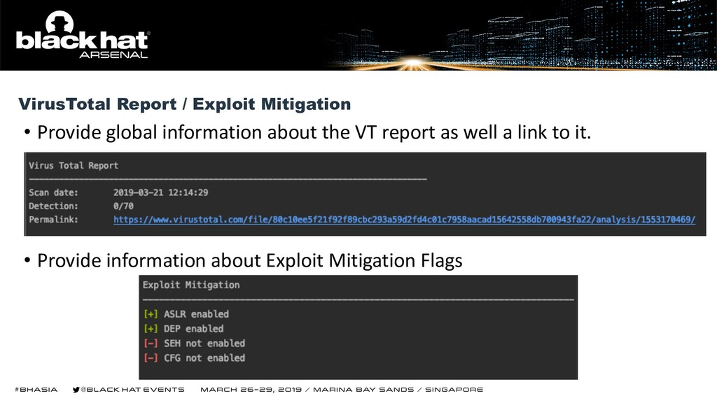• Provide global information about the VT repor...