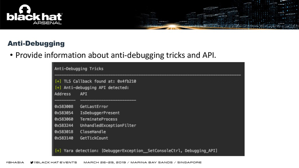 • Provide information about anti-debugging tric...