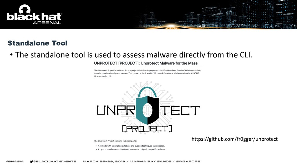 • The standalone tool is used to assess malware...