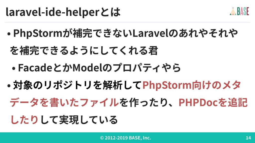 © - BASE, Inc. laravel-ide-helperとは • PhpStormが...