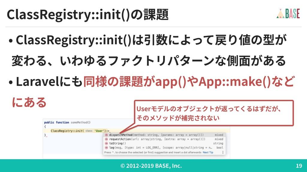 © - BASE, Inc. ClassRegistry::init()の課題 • Class...